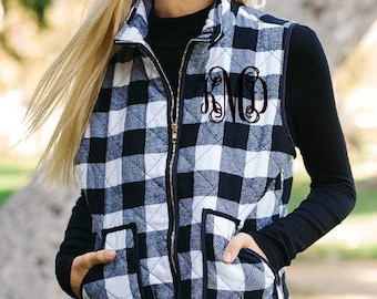 Buffalo Plaid Vest Women's Black and White Plaid Puffer Vest with pockets Red and Black Buffalo Plaid Puffy Vest Monogrammed Plaid Vest SALE