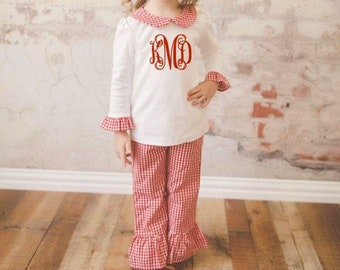 Monogrammed Girls Outfit Gingham Plaid Peter Pan Collar Shirt and Ruffle Pants Toddler Holiday Outfit