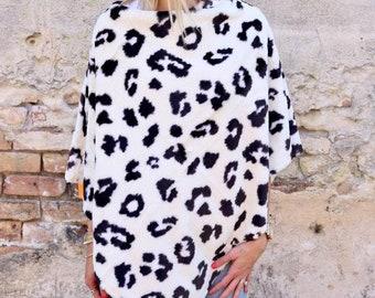 Monogrammed Leopard Poncho Faux Fur