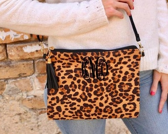 Monogrammed Leopard Clutch/Crossbody Bag Handbag Wallet black and brown leopard Bag