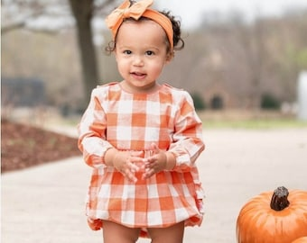 Monogrammed Plaid Bubble Romper Baby Girls Fall Outfit