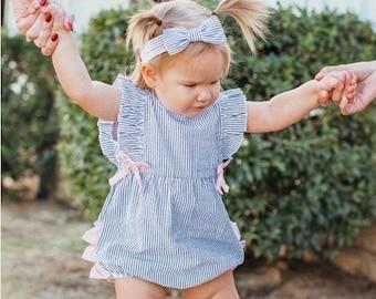 Girls Seersucker Bubble Romper in Blue and Pink