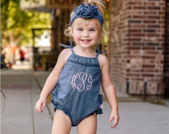 Girls Ruffle Romper Faux Denim Baby Girls Outfit Monogrammed