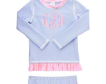 Blue Seersucker Rash Guard Bikini Swimsuit for Baby and Toddler Girls