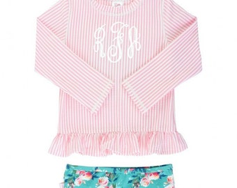 Pink Seersucker Floral Rash Guard Bikini Swimsuit for Baby and Toddler Girls