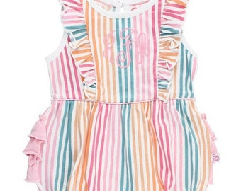 Monogrammed Bubble Romper in Rainbow Stripes Baby and Toddler Girl