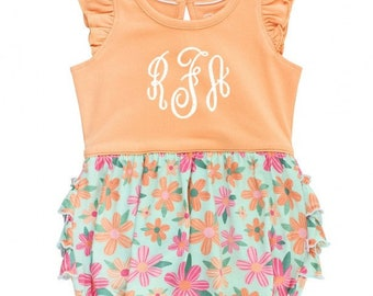Monogrammed Bubble Romper in Spring Floral and Melon Baby Girl