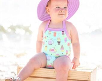 Girls Monogrammed Swimsuit Halter One Piece in Ice Cream Print