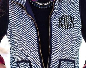 Monogrammed Herringbone Vest Women's Black and White Tweed Vest