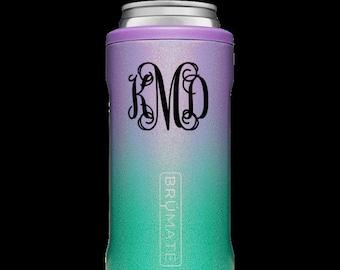 Monogrammed Hopsulator Slim BruMate in Mermaid Glitter