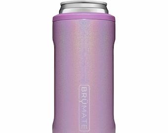 Monogrammed Hopsulator Slim BruMate in Violet Glitter