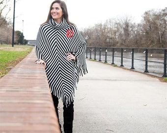 Monogrammed Fringe Cape Black Stripe Tunic Length