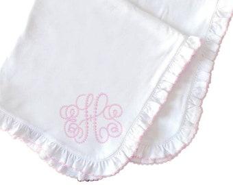 Monogrammed Baby Blanket Pink Stitching Ruffle Coming Home Blanket for Baby Girl Monogrammed Pima Cotton