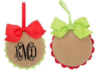Monogrammed Christmas Ornament Burlap Holiday Tree Decor Teacher Gift Friend Gift Ornament Gift Burlap Decor