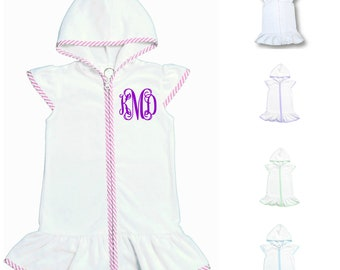 Girls Seersucker Terry Cloth Swim Cover Up Dress Monogrammed Baby Toddler Swimsuit Cover