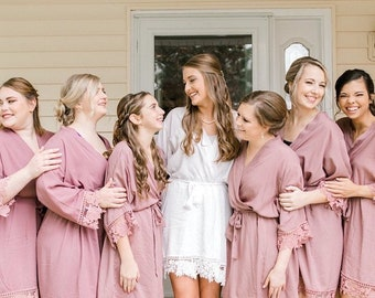 Bridesmaids Robes Cotton Lace Wedding Party Robes Getting Ready Outfit Silk Lace Bridal Robes