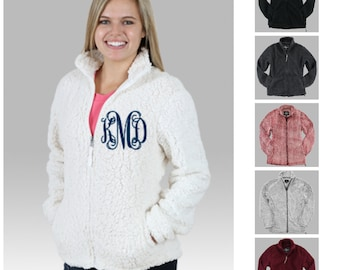 Monogrammed Sherpa Jacket Full Zip