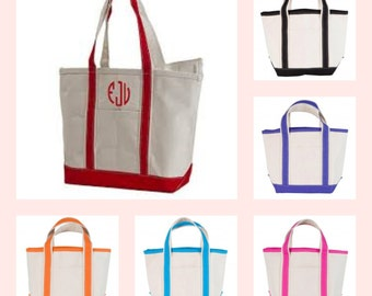 Monogrammed Boat Tote - Canvas Bag