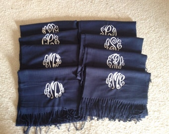 5 Monogrammed Scarves Cashmere Feel Scarf Bridesmaids Gift Wedding Party Shawl Bridal Scarves