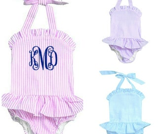 Monogrammed Onepeice Swimsuit Seersucker Ruffled Toddler and Baby Bathing Suit