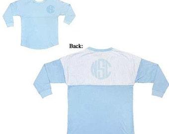 Monogrammed Seersucker Spirit Jersey Blue