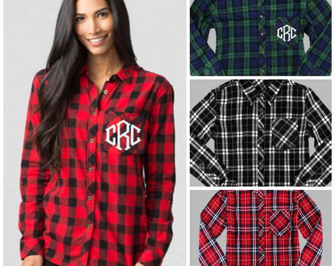 Featured listing image: Monogrammed Plaid Flannel Button Down Shirt Buffalo Plaid Tunic Unisex Plaid Shirt Family Picture Matching Shirts Holiday Card Attire