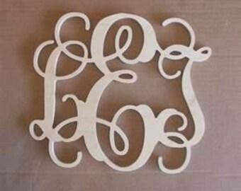 3 Letter Wood Monogram