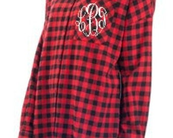 Monogrammed Plaid Shirt - Oversized Shirt