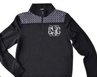 Monogrammed Quarter Zip Women's Pullover Sweatshirt Black