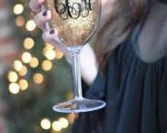 Gold Glitter Wine Tumbler - Monogrammed