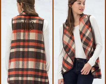 Monogrammed Plaid Vest - Open Vest