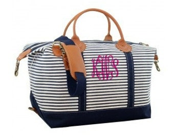 Monogrammed Weekender Duffle Bag - Navy Stripes Travel Bag Overnight Tote Canvas Duffle Bag Personalized Travel Bag