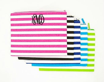 Monogrammed Zipper Pouch Striped Carry All