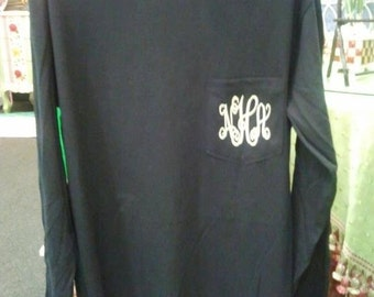 Monogrammed Long Sleeve Tee Shirt - Shirt with Pocket