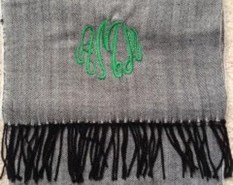 Monogrammed Herringbone Scarf - Cashmere Feel