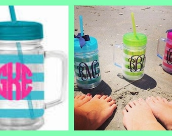 Monogrammed Striped Tumbler - Jar Tumbler with Straw