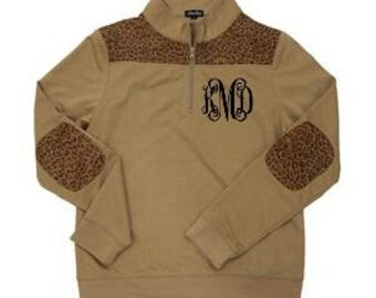 Monogrammed Leopard Pullover Sweatshirt Quarter Zip Women's Lightweight Sweatshirt Leopard Print Ladies Gift