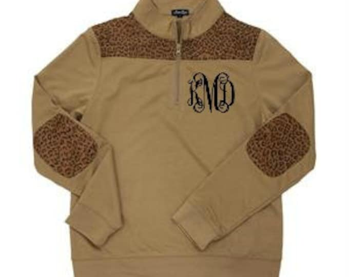 Featured listing image: Monogrammed Leopard Pullover Sweatshirt Quarter Zip Women's Lightweight Sweatshirt Leopard Print Ladies Gift