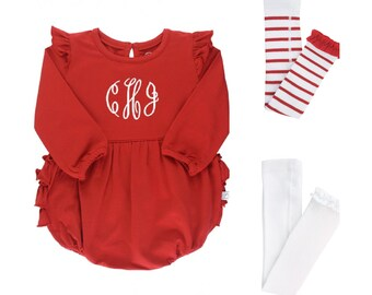 Baby Girl Holiday Bubble Romper in Red Ruffle Butt with Monogram and Footless Tights Outfit for Baby and Toddler Girls