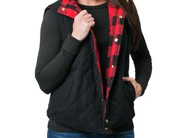 Buffalo Plaid Vest Women's Reversible Red and Black Plaid Puffer Vest