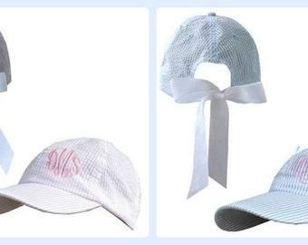 Monogrammed Seersucker Hat
