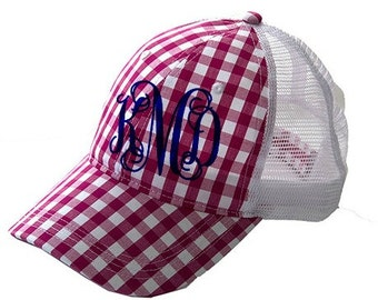 Monogrammed Baseball Hat Pink Gingham Truckers Hat Personalized Ball Cap Women's Hat Pink Plaid Hat