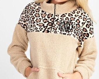 Monogrammed Sherpa Pullover Leopard Print Quarter Zip
