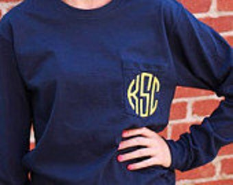 Monogrammed Tee - Long Sleeve Pocket Tee