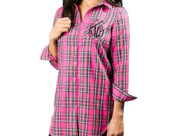 Monogrammed Plaid Tunic Hot Pink Plaid Button Down Tunic for Women Bridesmaids Shirts Oversized Shirt