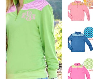 Monogrammed Quarter Zip Sweatshirt Lilly Inspired