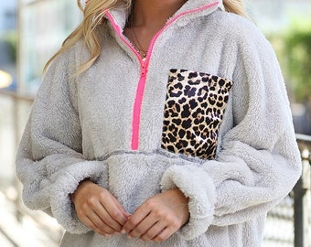 Women's Sherpa Pullover with Leopard Pocket and Pink Detail Monogrammed Sherpa Quarterzip Leopard Sherpa Fuzzy Pullover