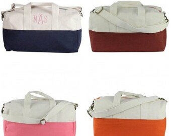 Monogrammed Duffle Bag - Colorblock Canvas
