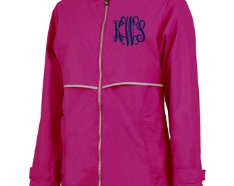 Monogrammed New Englander Rain Jacket - Hot Pink