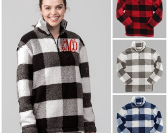 Buffalo Plaid Sherpa Pullover Unisex Holiday Pullover Plaid Quarterzip Pullover Monogrammed Sherpa Pullover Fleece